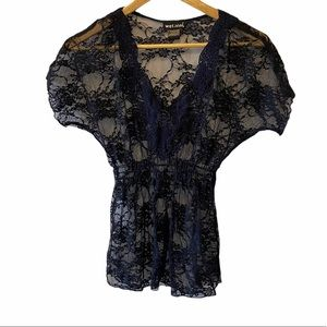 WET SEAL Navy Sheer Lace V Neck Short Sleeve Top S